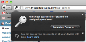 Remember password dialog in Firefox